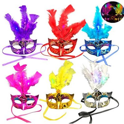 6-Pack-Led-Feather-Mask-Mardi-Gras-Masquerade-Party-Feather-LED-Masks--red-pink-rose-red-blue-purple-and-silver--0