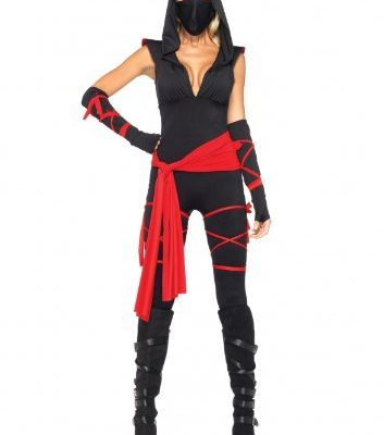 Leg-Avenue-Costumes-4Pc-Deadly-Ninja-Catsuit-Waist-Sash-Arm-Warmers-Mask-Wraps-0