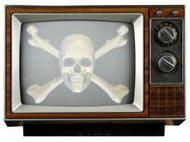 Analog TV with Skull on Screen
