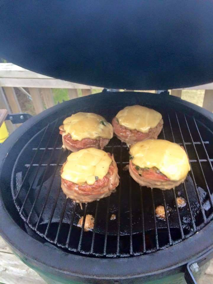 Burger on BBQ grill