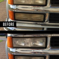 before and after photo of Chevy Suburban headlights