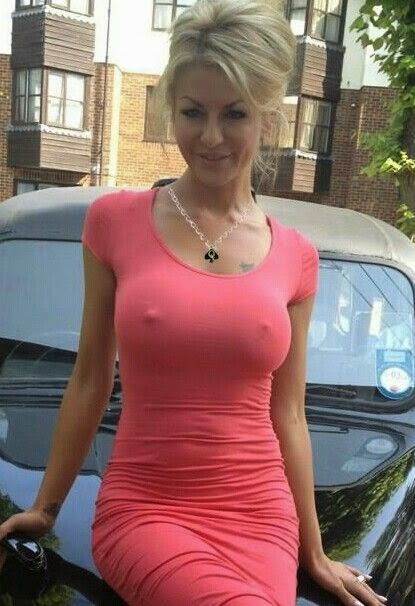 Hot Girl In Tight Pink Dress against car