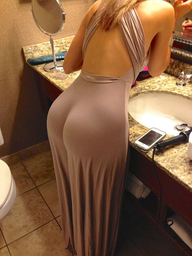 Hot Girl In Tight Beige Dress in Bathroom