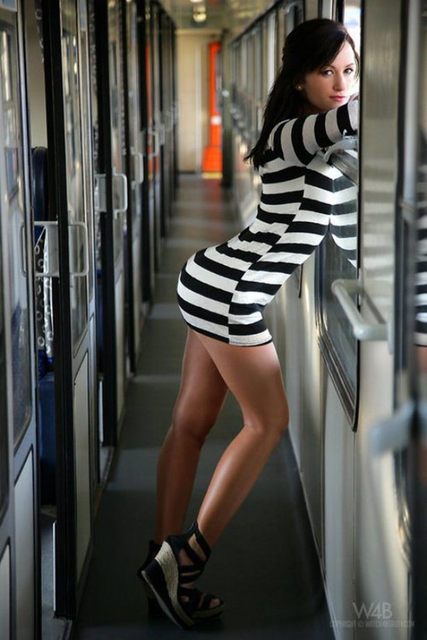 Hot Girl In Tight Stripped Dress