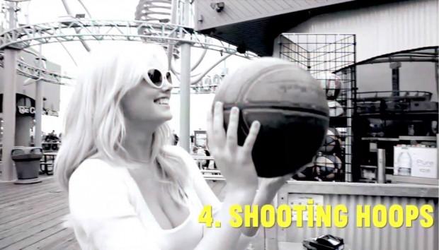 Kate Upton shooting basketball