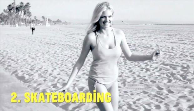 Kate Upton Skateboarding