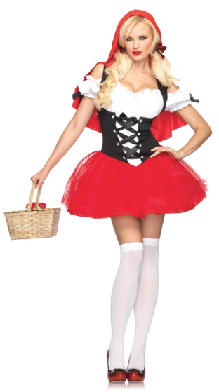 Racy Red Riding Hood Tutu Peasant Dress With Attached Hooded Cape