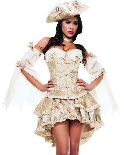 Starline Women's Ghost Ship Pirate Sexy 4 Piece Costume Dress Set
